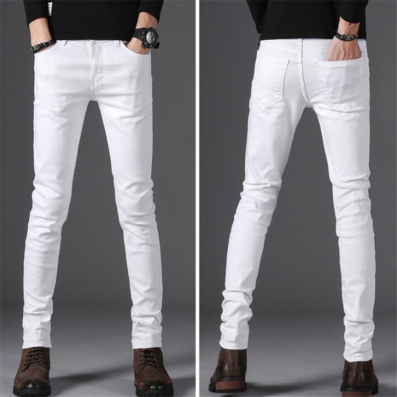 Winter style men's casual High Quality Slim Fit Trousers elastic men   Jeans   Fashion Classic Denim Skinny White   Jeans   mens pants