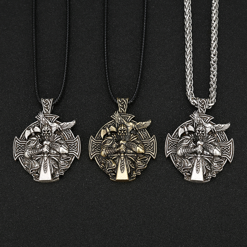 Norse Viking Odin by Helena Rosova Necklaces Heathen Cross Raven Pendant Necklace Vikings Jewelry
