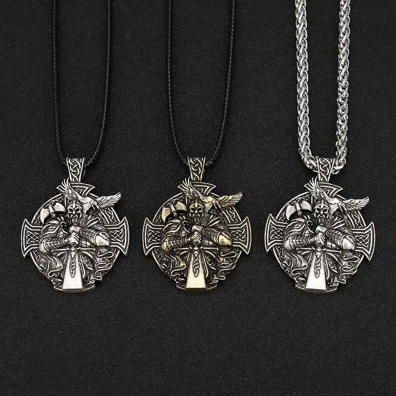 Norse Viking Odin by Helena Rosova Necklaces Heathen Cross Raven Pendant Necklace Vikings Jewelry