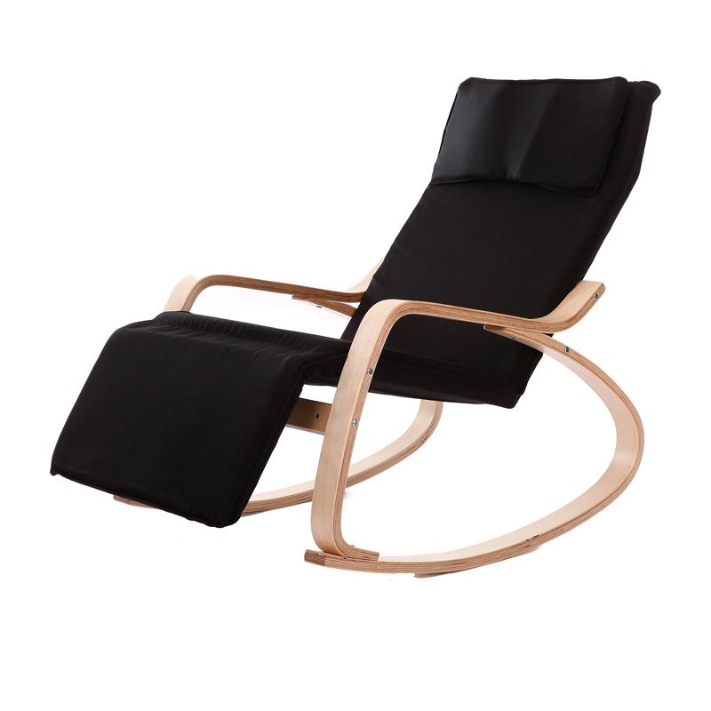 Perfekt Bequeme Entspannen Holz Schaukelstuhl Mit Fußstütze Design Wohnzimmer Möbel  Moderne Chaise Lounge Sessel Stoff Kissen(