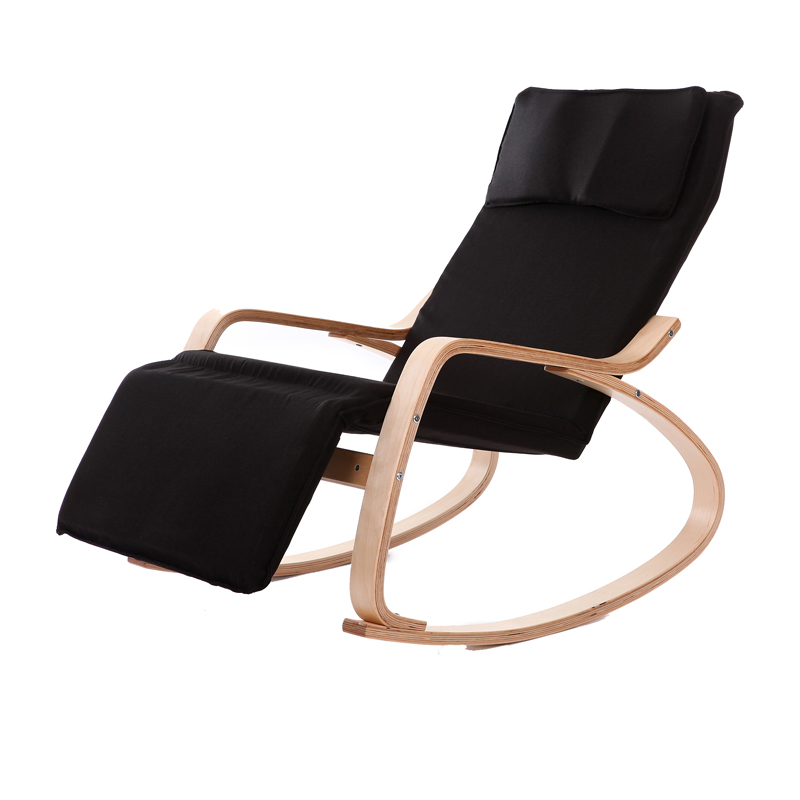 Buy Comfortable Relax Wood Rocking Chair With Foot Rest Design Living Room