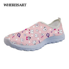 WHEREISART Cartoon Lovely Dentist Pattern Brand Flats Women Shoes Summer Fashion Comfort Ladies Loafers Dentista Zapatos Mujer