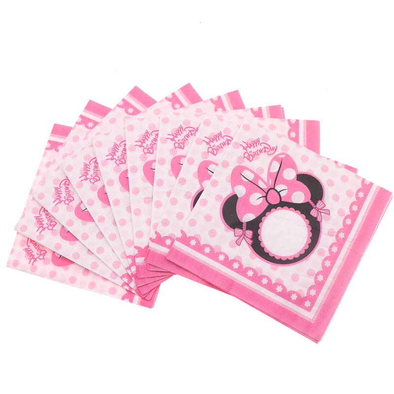20pcs/Minnie Mouse Party Decorations Baby Shower Disposable Napkins Party Supplies Birthday Party Tableware Wedding Decoration