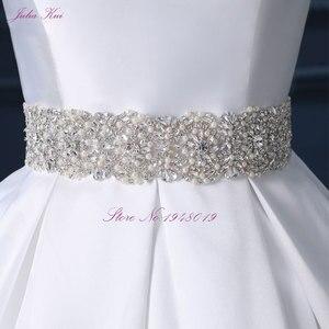 Image 3 - Julia Kui High end Custom Elegant Satin Wedding Dresses  Scoop Neckline With Beading Sash Ball Gowns Robe de Mariage Plus Size