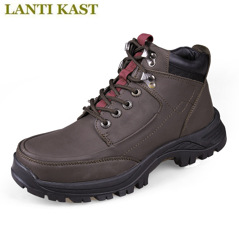 2017 Men's Hiking Shoes Breathable Climbing Shoes High Quality Genuine Leather Winter Outdoor Sport Comfortable Soft Boots kelme 2016 new children sport running shoes football boots synthetic leather broken nail kids skid wearable shoes breathable 49