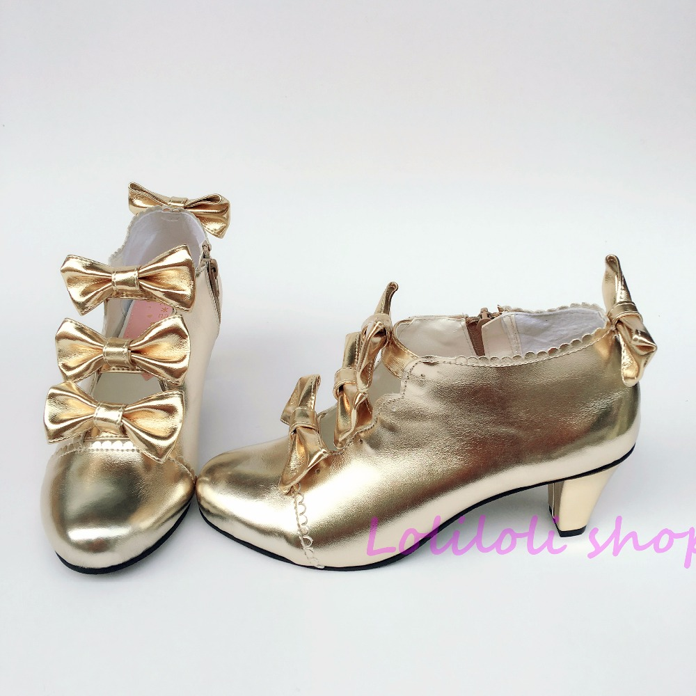 Princess sweet lolita shoes Japanese design customized special shaped Champagne bow tie chunky heel shoes sandals 6642 цена