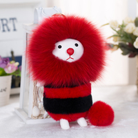 Fur Monster Keychain Real Fox Fur Key Chain Bag Car Charm Pendant Rex Rabbit Fur Key