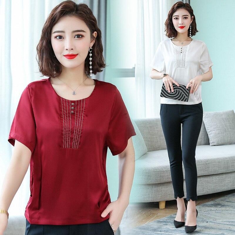 Korean Fashion Silk Women Blouses Satin Short Sleeve White Women Shirts Plus Size XXXL 4XL Blusas Femininas Elegante in Blouses amp Shirts from Women 39 s Clothing