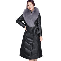 Ukrainian Fox Fur Collar Women Plus Size Fur Jacket 2017 New Winter Long Down Cotton Skin