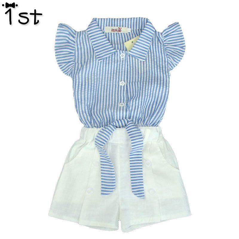 1st meninas novas shorts set Azul estilo navy listrado fly manga bowknot top + calça branca conjunto menina roupas boutique para 2-7Tconjunto