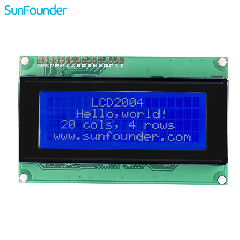 SunFounder LCD2004 Module With 3.3V Backlight For Arduino Uno R3 Mega2560 Raspberry Pi Display Of 20x4 White Characters On Blue