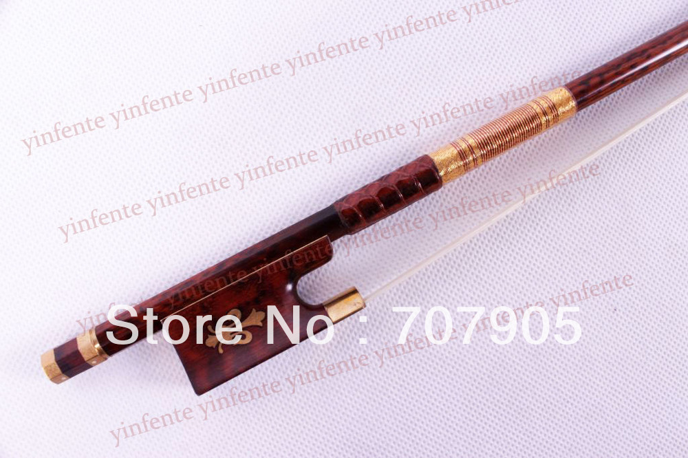 One 4/4 Violin Bow SnakeWood Bow string  Golden Color Flower inlaid  Pattern