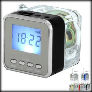 Mini Speaker Fm-Radio 1 100pcs Usb-Disk Lcd-Display Crystal Led Multi-Colors By-Dhl-Or-Ems