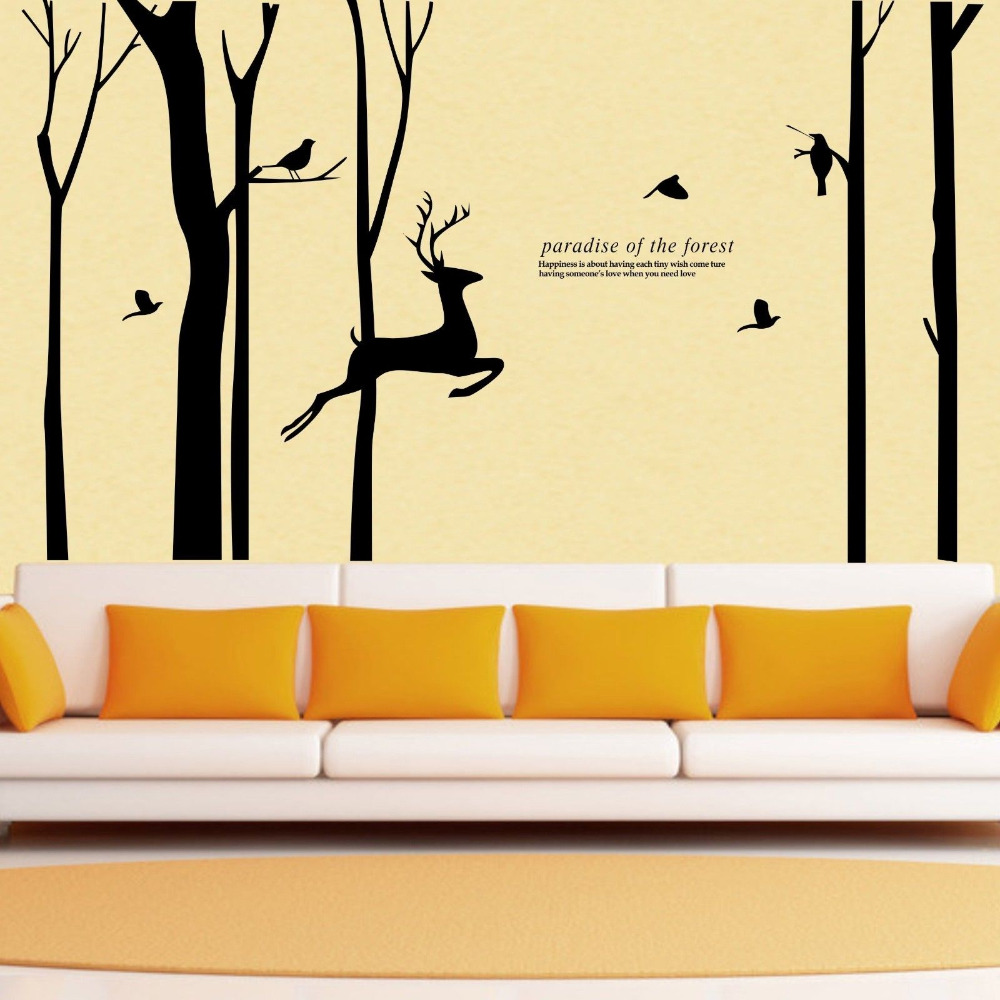 Giant Forest Tree Wall Stickers Deer Bird Vinyl Decals Home Decor ...