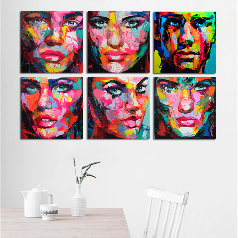 6 Pcs Set Francoise Nielly Designer Cool Face 6 faces Art Palette knife Oil painting Printed On canvens for Bedroom Wall Decor in Painting Calligraphy from Home Garden