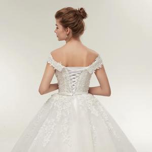 Image 5 - Fansmile vestido de noiva noiva laço do vintage tule bola vestidos de casamento 2020 plus size personalizado vestidos de noiva frete grátis FSM 141F