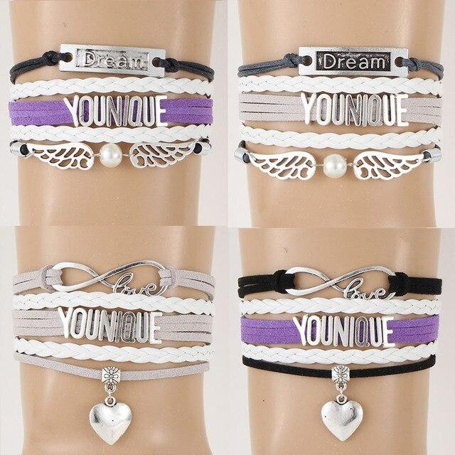 (10 pcs/lot) Infinity Amour YOUNIQUE Bracelet Coeur Rêve Charme Multicouche  Corde Wrap