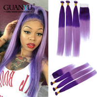 Guanyuhair Pre colored Ombre Purple Hair Bundles with Closure 4X4 2 Tone Brazilian Human Hair Weave Remy Straight Hair Extension