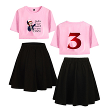 LUCKYFRIDAYF K-pop Fashion Stranger things 3 Short Skirt Suit Sleeve Tshirt and Two Piece Girl Casual Kpop Set