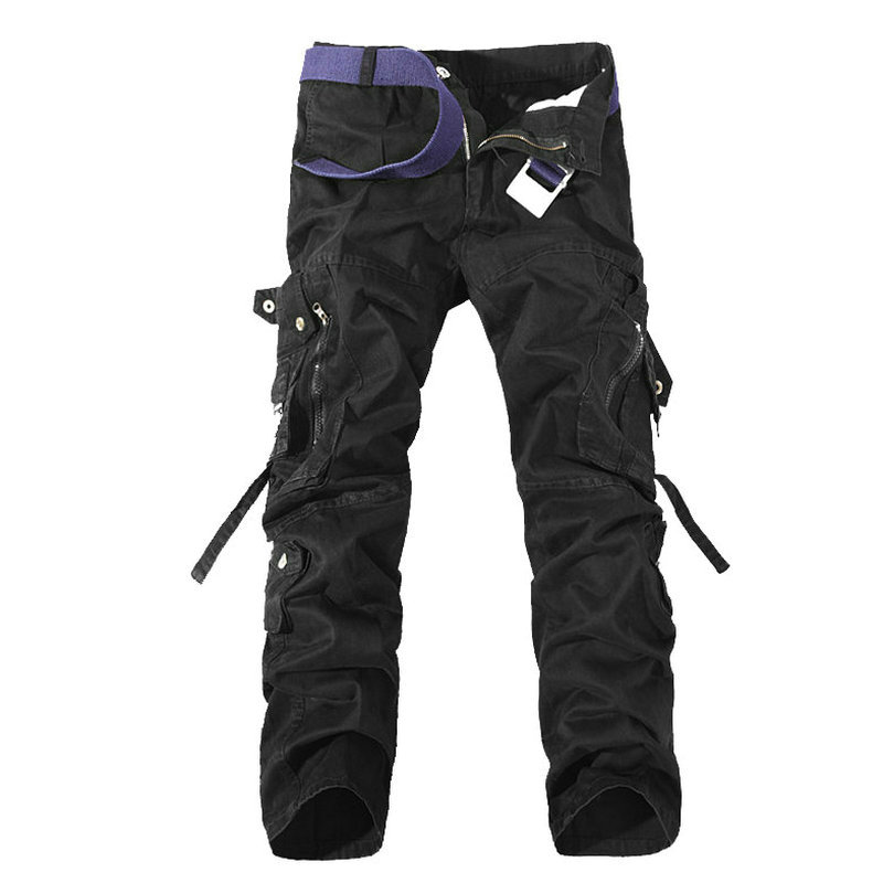 Fashion Multi-Pocket Solid Mens Cargo Pants High Quality Casual Slim Workout Men Trousers Size 28-40