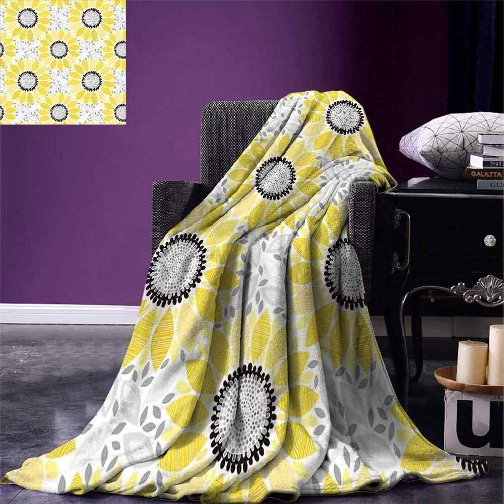 Yellow Throw Blanket Sunflower with Leaves and Petals Pattern Spring Summer Floral Nature Country Style Art Warm Microfiber