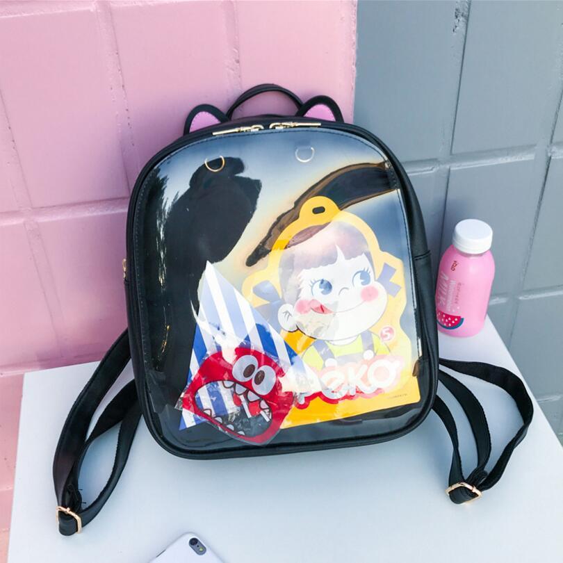 Lovely Cat Ear Leather Backpacks Candy Color Transparent Bag Children Shoulder Bags School Teenage Girls Travel Bagpack Itabag candy color bear ceramic drawer handle for children lovely furniture fittings