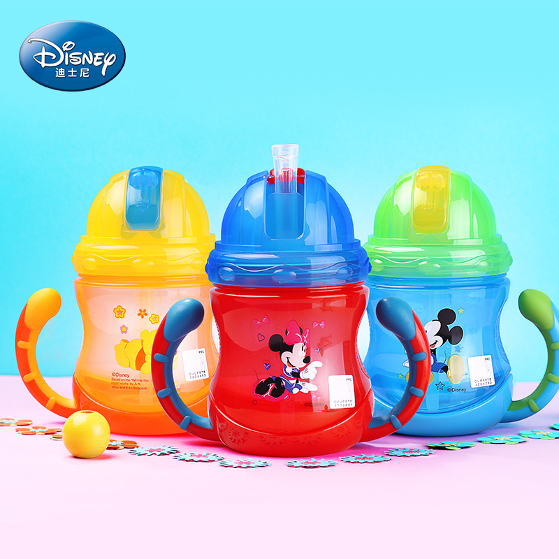 Disney Brand Water Bottle For Practice With Handles For Child BPA Free Leak Proof Kid Bottle 210ml Baby Bottle Blue Mickey