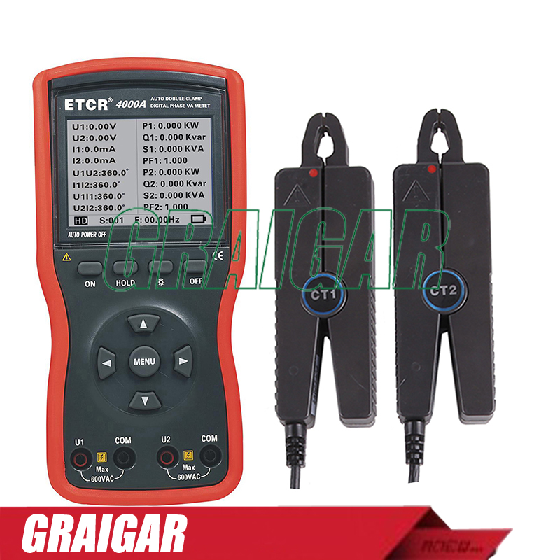 ETCR4000A Intelligent Double Clamp Digital Phase Volt Ampere Meter       - title=
