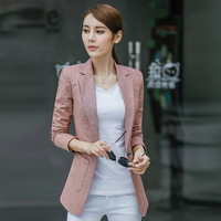 Ladies Blazer Feminino Plus Size 4XL Formal Jacket Women's White Blaser Rosa Female Blue Women Suit Office Ladies Cotton Linen
