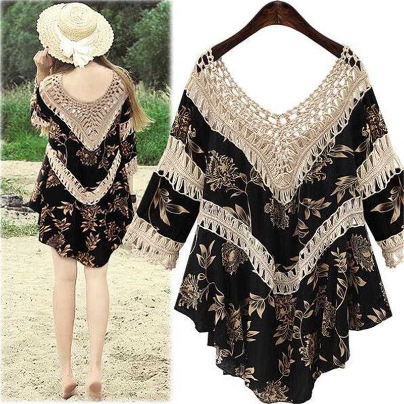 2019 Spring Summer Top Women tshirt Hippie Boho Shirt Mexican Hollow Splice Women Shirt Fashion Wild Half Sleeve Ladies T Shirt