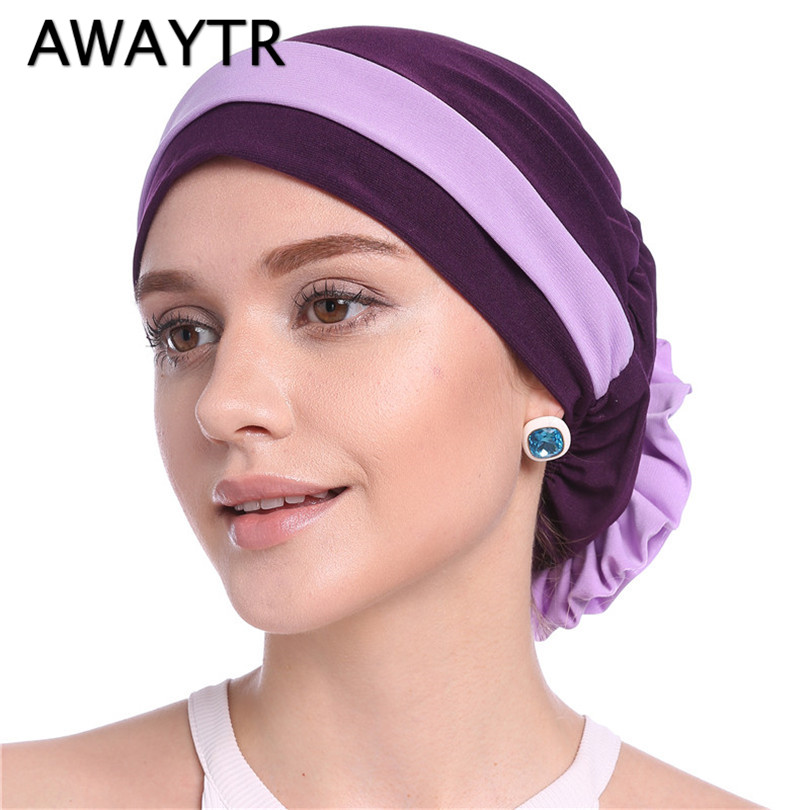 AWAYTR 13 Colors Women Headbands Muslim Bandanas Elastic Hair bands Flower   Headwear   Autumn Winter Head Scarf Fashion Headwrap