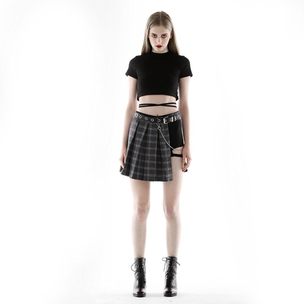 Nouveau Ins Punk femmes ensembles noir court t-shirts noir à l'intérieur des Shorts avec fermeture éclair Plaid jupes avec ceinture 4 pièces femmes d'été ensembles