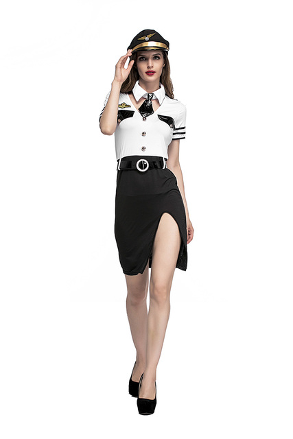 Adult Women Halloween Sexy Pilot Attendant Costume Lady Short Fancy