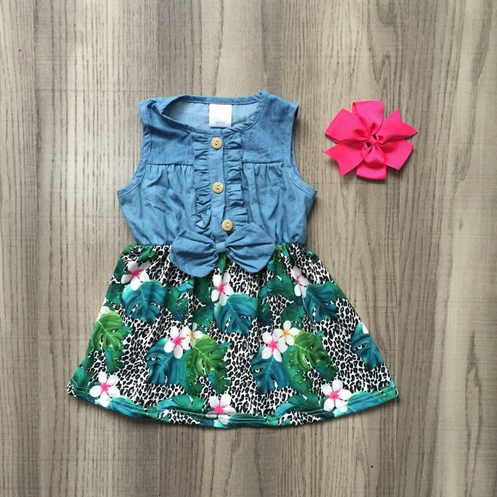 95cc082355b0b baby girls children clothes cotton solid color leopard flower Denim Blue  ruffles dress boutique summer floral match accessories