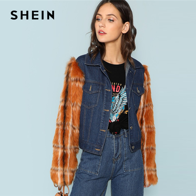 18d6066158 Aliexpress.com : Buy SHEIN Multicolor Button Up Pocket Patched Sleeveless  Denim Jacket Casual Single Breasted 2018 Autumn Outerwear Women Fur Coat  from ...