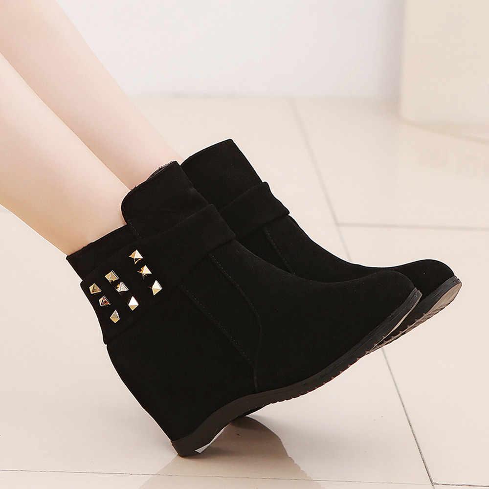 YOUYEDIAN Platformu Kama Topuk çizmeler kadın ayakkabıları Artan Platform Moda Ccasual Botları sapato feminino konfor # a25