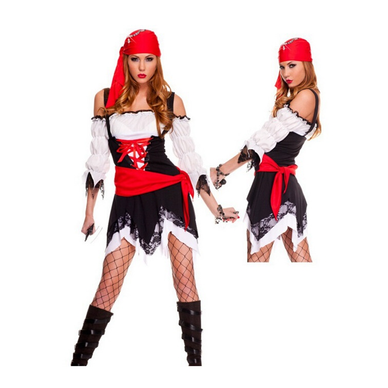 Halloween Adulto Donne Pirati Gonna Masquerade Fancy Dress Cosplay del  Pirata Costume Sexy Hot Festa di e1f1039551a