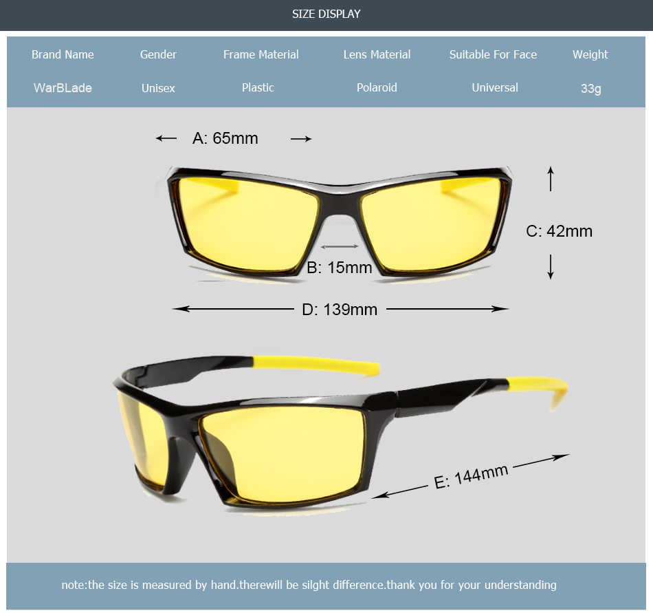 WarBLade موضة جديدة للرؤية الليلية نظارات شمسية الرجال عدسات صفراء اللون الاستقطاب النظارات الشمسية القيادة مكافحة وهج نظارات للسائق نظارات