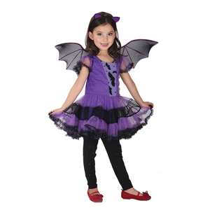 Image 2 - 90 160 cm בנות ליל כל הקדושים סגול עטלף ערפד נסיכת שמלת כנף סרט קוספליי תלבושות ילדים סטי מפחיד ליצן מכשפה בגדים