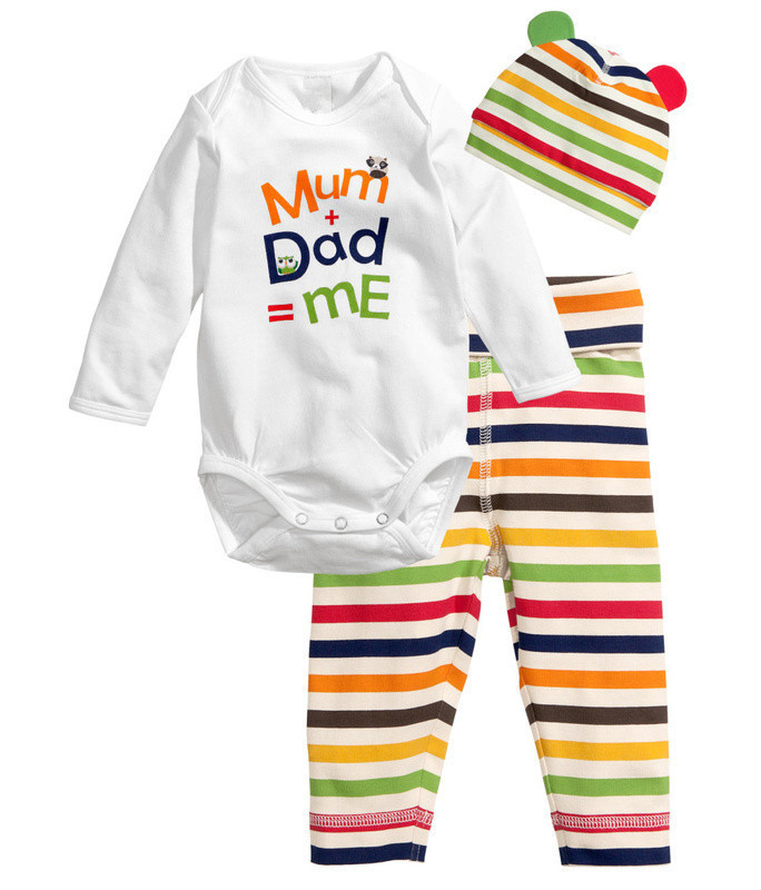 Hot cotton children cartoon baby boy girl clothing set Long sleeves infant newborn baby Rompers 3pc T-shirt hat pant