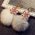 Corea del Cristal de Lujo Fox Bola de Pelusa Perla Cadena Dominante Del Coche Bolsa Colgante Colgante Accesorio de La Joyería Para Woman-JQCYKC006