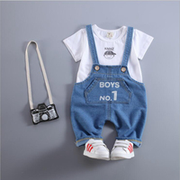 baby boy girl clothes 2016 new summer infant baby suits 2pcs cotton short sleeve tops tees+letters overalls kids sets