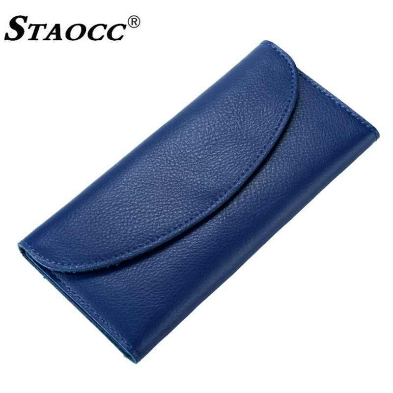 Slim Wallet Women Genuine Leather Long Hasp Thin Wallet Purse Simple Money Bag Cards Holder Purse Female Clutch Wallets Cowhide