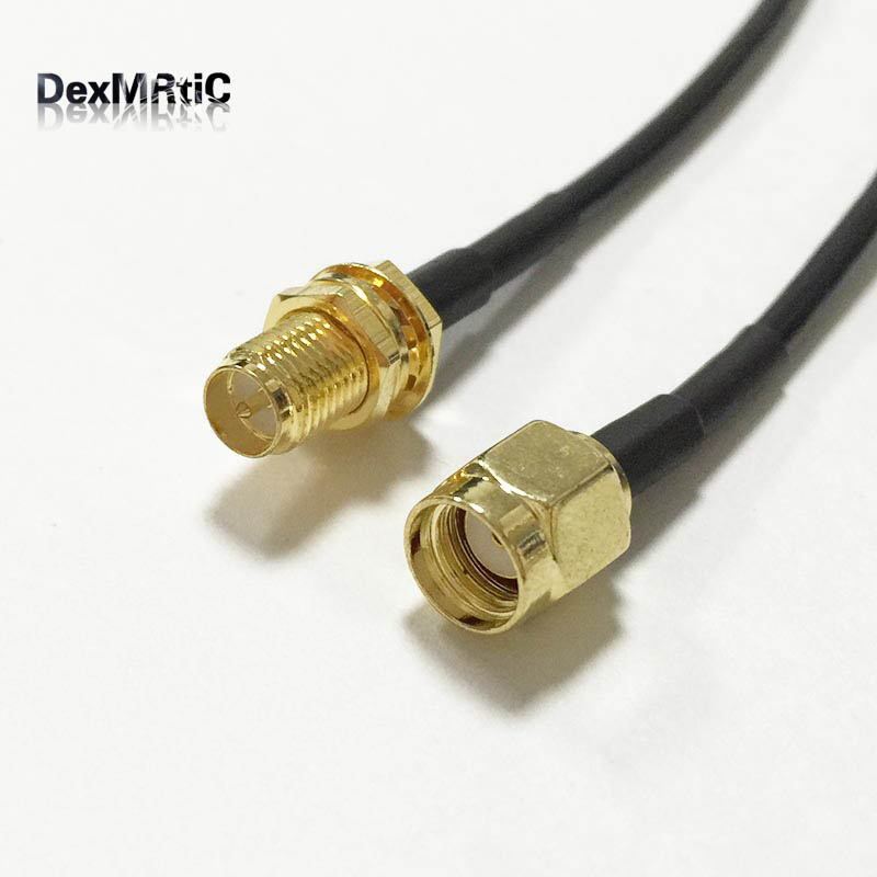 WIFI antenna extension cable RP SMA male plug to RP SMA female jack nut pigtail adapter RG174 20cm 8