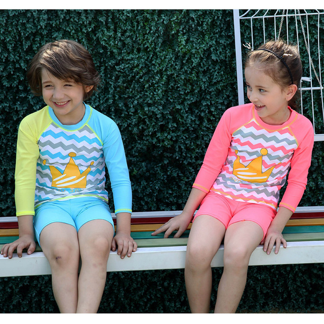 c28e3696c5 Girls & Boys Swimsuit UPF 50+ UV Rash Guard Set Long Sleeve Swimwear with  Cap Swimming Suits 3-12 Years Kids Child Beach Shirt