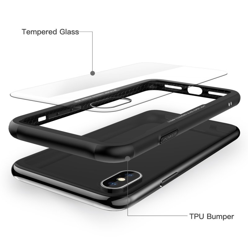 Luxury Case For iPhone X Back Cover 9H Transparent Tempered Glass + Soft TPU Silicone Frame For Apple iPhoneX 10 Ten Coque Etui
