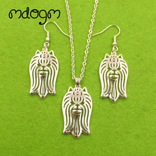 Mdogm Yorkshire Terrier Dog Animal Jewelry Sets Necklace Drop Earrings Cute Pendant For Women Female Wedding Christmas T042