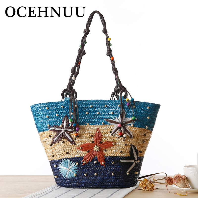 OCEHNUU Summer Straw Beach Bag Weave Women Messenger Bags Large Capacity Handbag Travel Ladies Shoul