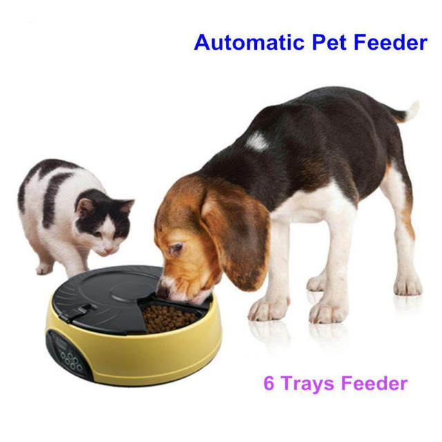 Ortilerri 6 Meal Smart Automatic Pet Feeder LCD Display Dog Cat Food Dispenser Timed Recorder Bowl Food Reminder Cat Feeder