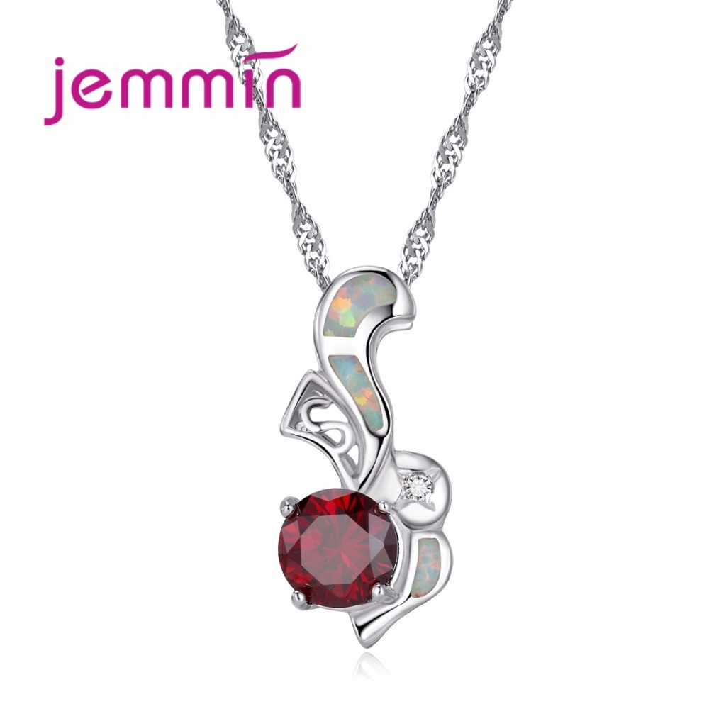 New Fashion Animal Jewelry High Quality 925 Sterling Silver Opal Necklace pendant with Red Clear CZ Crystal Women Gift